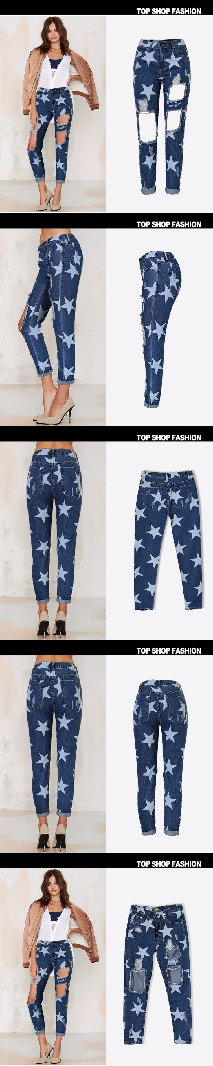 new wild beggar BF ankle-length jeans European and American women high waist hole jeans loose straight jeans star print pants