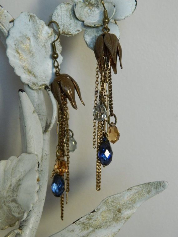Crystal Dangle Multi-Chain Assemblage Earrings by by 58Diamond