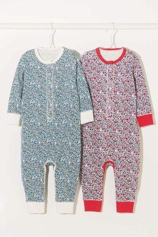 Dwie czerwone/niebieskie pidżamki w motywy kwiatowe (9m-cy-8lat)