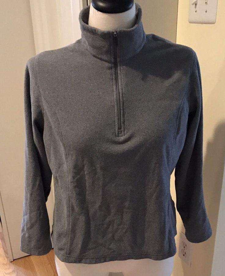 Lands End Womens Grey Half Zip Fleece Long Sleeve Sweatshirt Size Large Petite  #LandsEnd #SweatshirtCrew