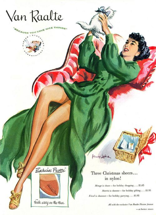 Van Raalte AD 1950s: Vintage Wardrobe, Nylons Stockings, Christmas Stockings, Vintage Green, Vintage Ads, Vans Raalt, 40S Fashion, White Kittens, Green Dresses