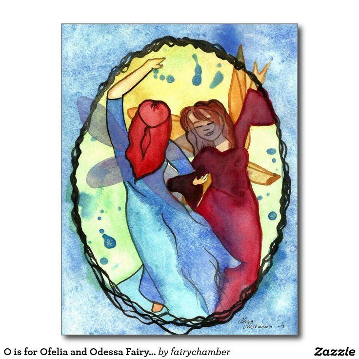 O is for Ofelia and Odessa Fairy Monogram Postcard