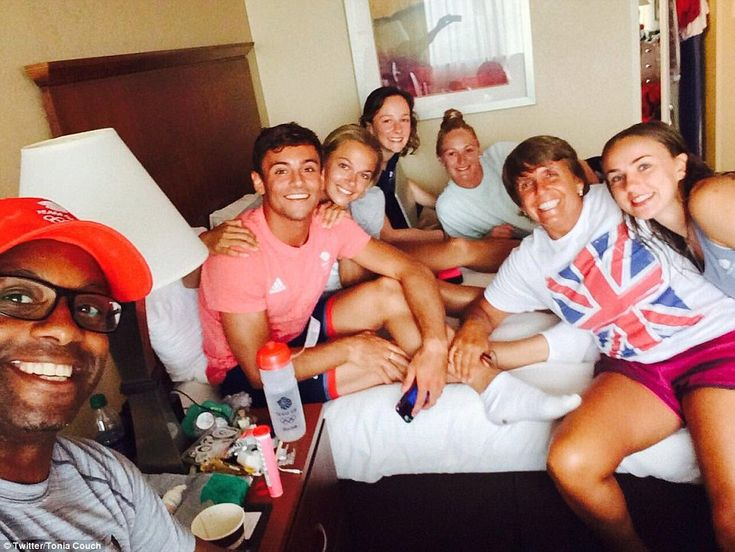 Fellow Team GB diver Tonia Couch posted this photo of Tom Daley and friends relaxing