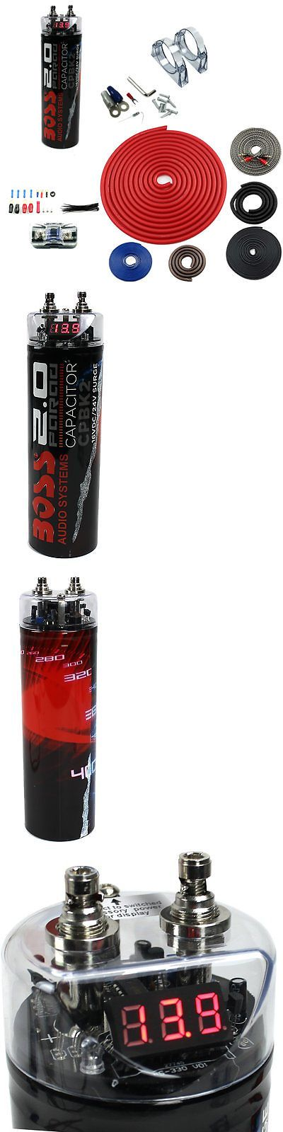 Capacitors: New Boss Cpbk2 2.0 Farad Led Digital Car Audio Capacitor Cap + 4 Gauge Amp Kit -> BUY IT NOW ONLY: $46.99 on eBay!