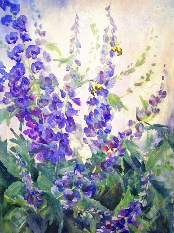 Цветы и пчелы летний цветочный масло цифровой живописи пейзаж с дельфиниума и люпина
