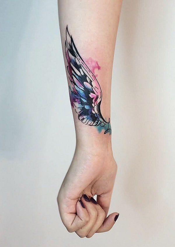 Amazing watercolor wing wrist tattoo - 35 Breathtaking Wings Tattoo Designs <3 <3 #watercolortattooideas