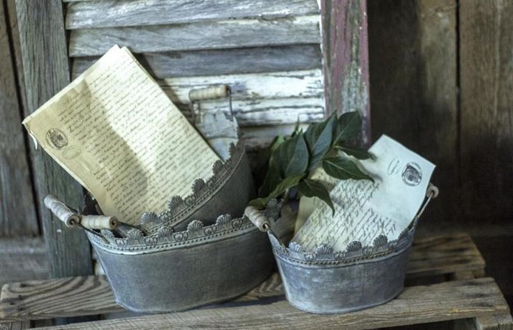 Embossed Galvanized Tin Metal Planters~Set of 3~Buckets Baskets~Wedding Decor #Unbranded