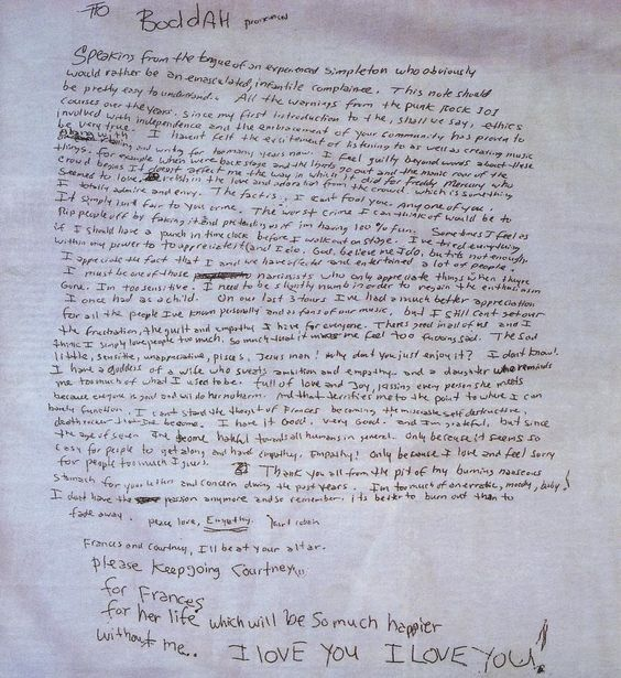 Una pizca de Cine, Música, Historia y Arte: La carta de despedida de Kurt Cobain