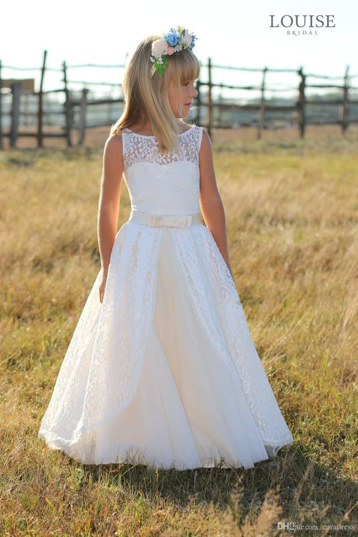 Elegant Full Lace Flower Girl Dresses 2016 junior bridesmaid Dresses floor length Kids Party Prom Dress with bow sash child Formal Dresses
