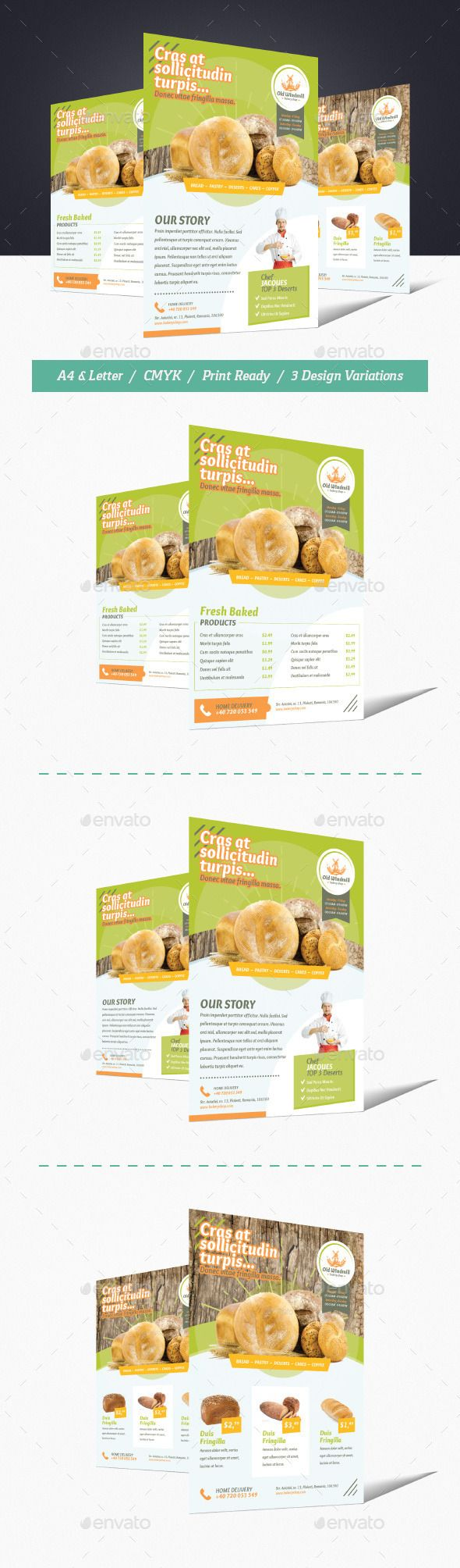 Bakery Shop Flyer Template #design Download: http://graphicriver.net/item/bakery-shop-flyer/11818851?ref=ksioks