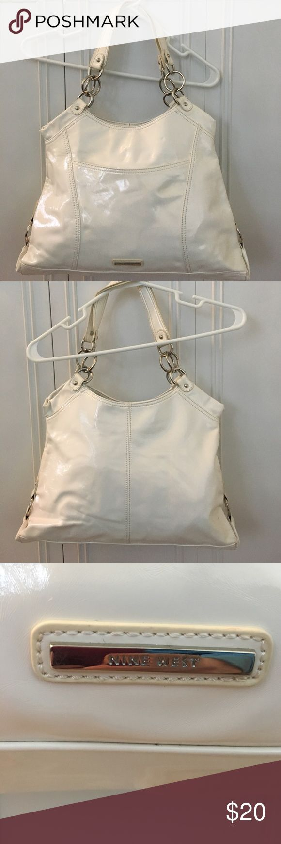 Nine West Purse Nice size Nine West purse. Shiny pleather material. Has small outside pocket. Snap closure. Nine West Bags Shoulder Bags