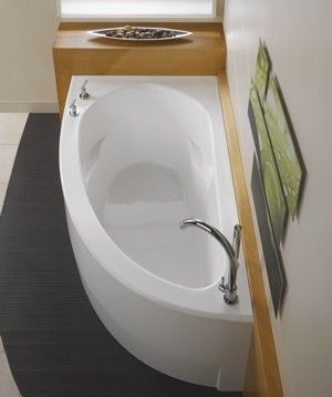 Saving Space in your Bathroom with a corner Bathtub    http://stagetecture.com/2012/02/guest-blogger-saving-space-in-your-bathroom-with-a-corner-bathtub/