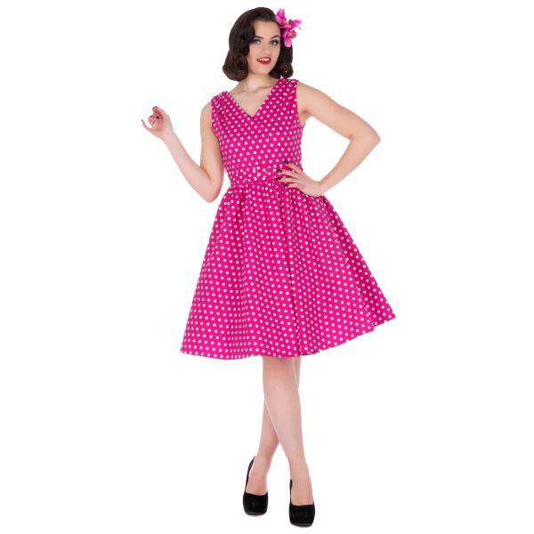 Šaty Dolly and Dotty Wendy Hot Pink Polka Puntíkaté krásky, kterým se prostě neříká ne, navíc za báječnou cenu! Skvělý model vhodný na retro večírek či běžné nošení. V přední i a zadní části s výstřihem do V, na ramenou mírně nabrané, projmuté v pase s rozšířenou sukní, zapínání na krytý zip na zádech, součástí pásek se sponou potaženou látkou ve stejném vzoru. Velmi příjemný, lehčí materiál (95% bavlna, 5% elastan), díky kterému se dobře nosí a jsou velice pohodlné. Široká sukně vybízí k…