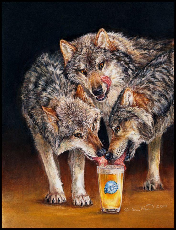 Drie Wolf Maan bier wolven Fine Art Print door AmberHillArt op Etsy https://www.etsy.com/nl/listing/118847160/drie-wolf-maan-bier-wolven-fine-art