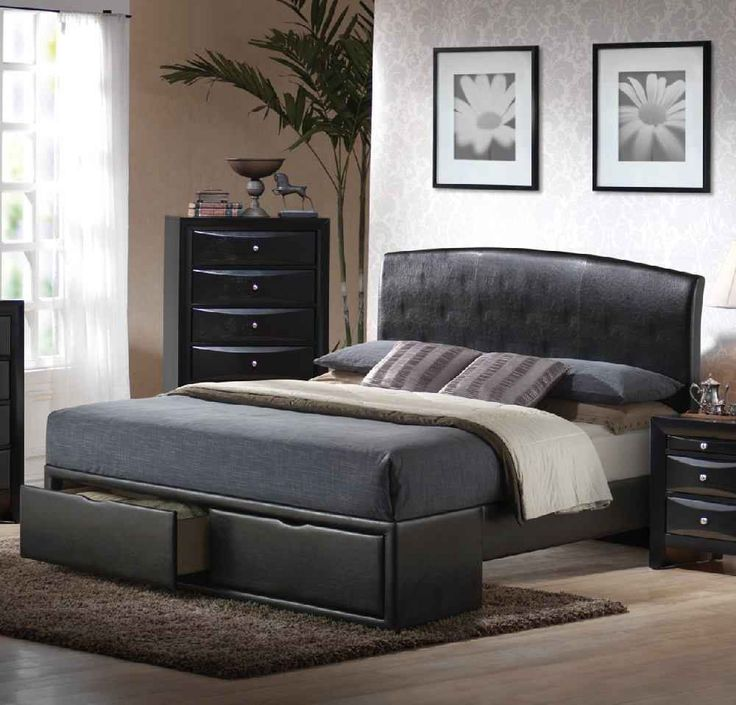 modern queen size beds and mattresses with chaise lounge and nightstand - Queen Bed Frames Cheap