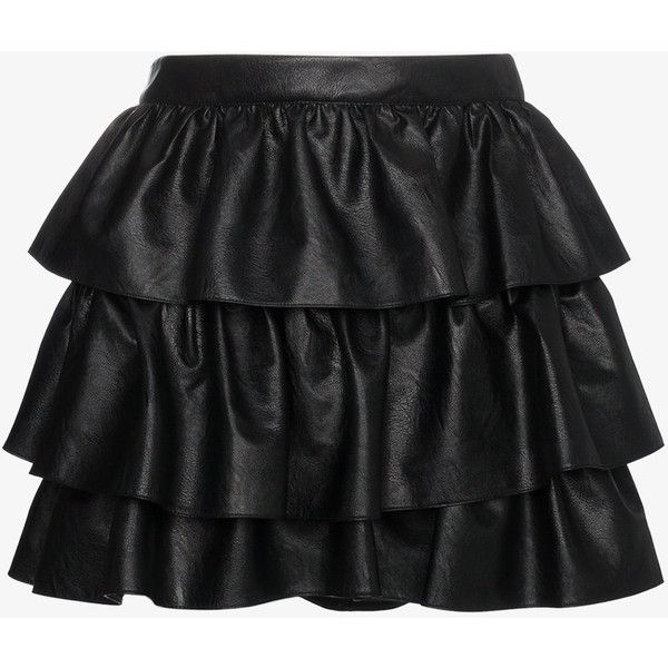 Stella Mccartney Tiered Ruffle Mini Skirt (10.061.425 IDR) ❤ liked on Polyvore featuring skirts, mini skirts, black, 80s skirts, layered ruffle skirt, short skirts, high-waisted skirts and 80s mini skirt