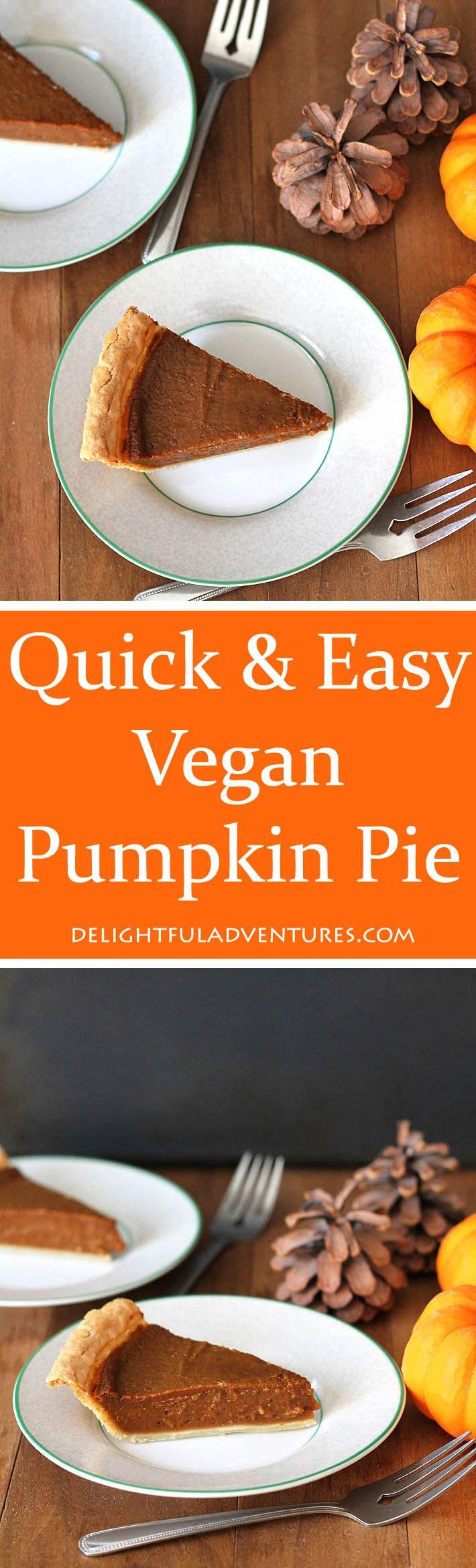 This Quick and Easy Vegan Pumpkin Pie recipe will save you lots of time so you can move on to other things when cooking multiple dishes during the holidays! via @delighfuladv #pumpkinpie #vegan #vegandessert #veganpie