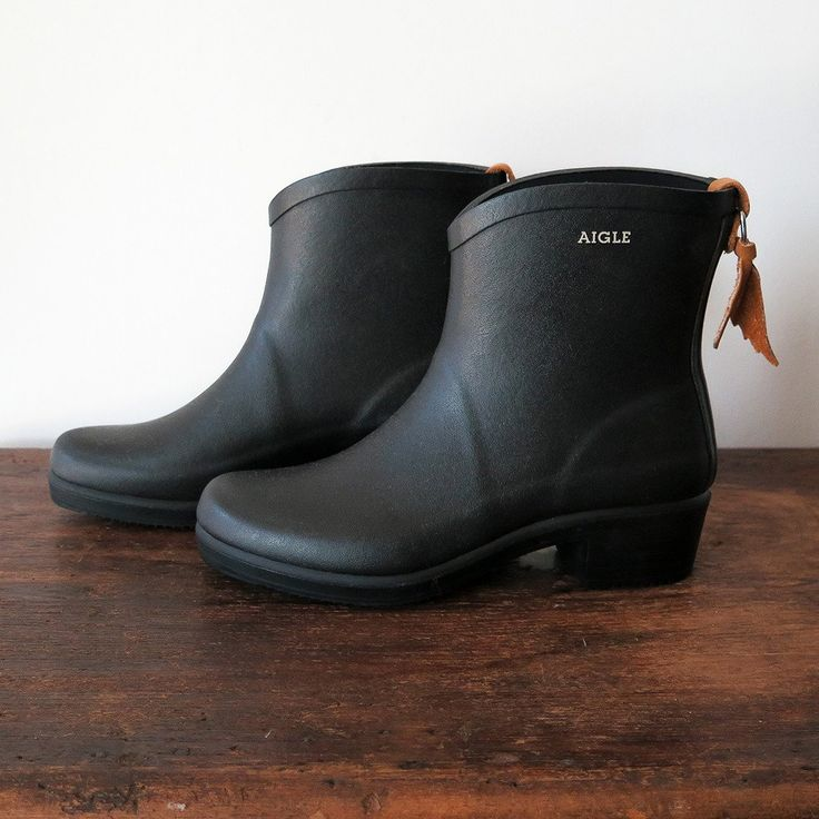 """high quality natural rubber ankle boot. cushioned dry-fast polyester insole with 1.75"""" heel and treaded sole. made in france aigle"""