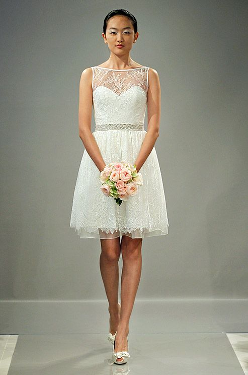 Popular Short wedding ceremony or reception dress from Theia Fall i guess i like the lace top