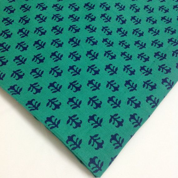 Beautiful, affordable fabric from India. Sea Green and Blue Printed Cotton Fabric