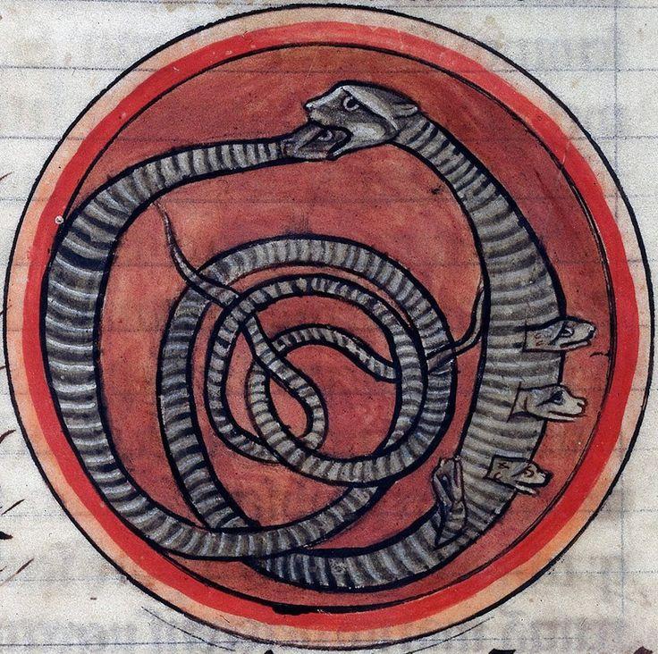 Vipers. Bestiary, England 13th century (British Library, Harley 4751, fol. 60r)