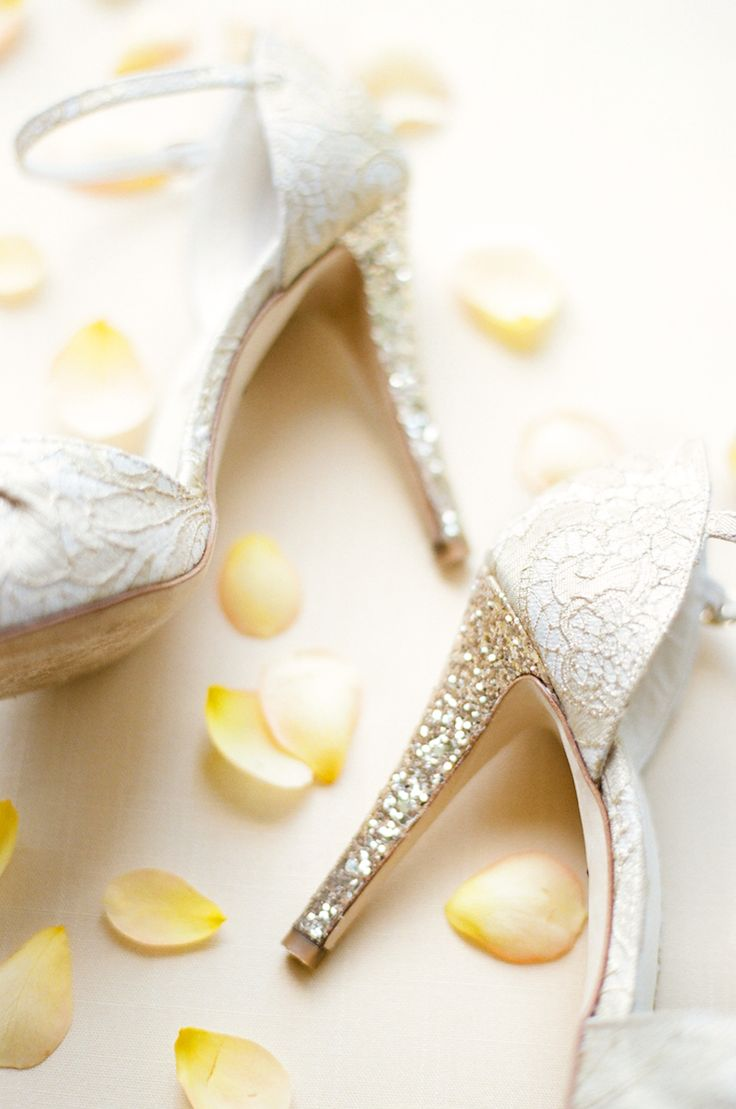 Lace and Glitter Bridal Shoes | photography by http://www.emmawyatt.com/