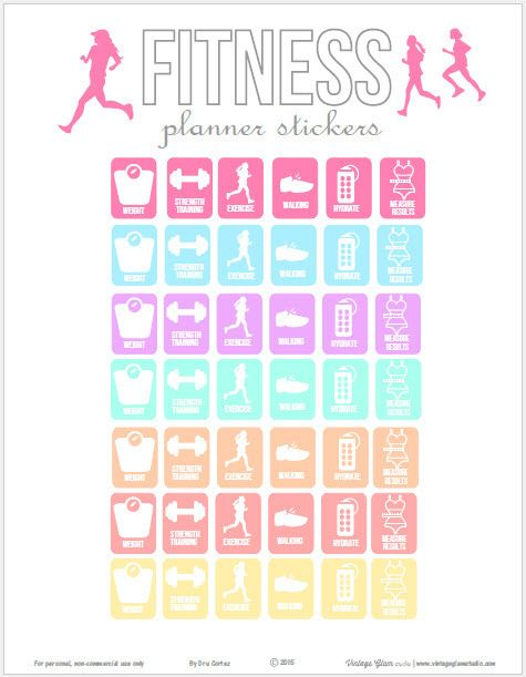 Fitness Planner Stickers | Free printable download suitable for ECLP and other week at glance planners.