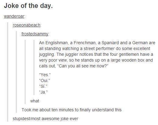 An Englishman, a Frenchman, a Spaniard, and a German...