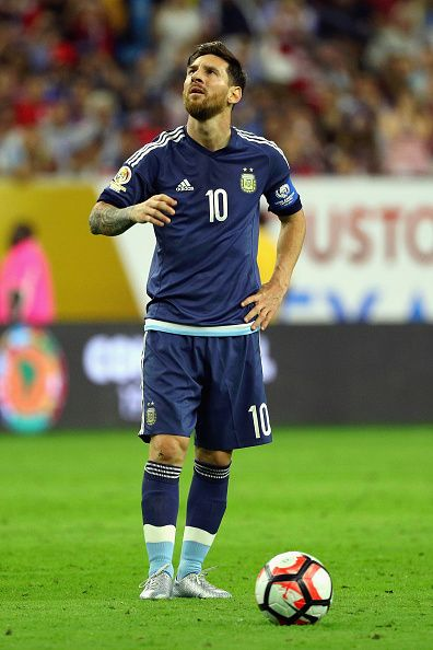 #COPA2016 Lionel Messi of Argentina looks on prior to scoring a goal on a free kick in the first half against the United States during a 2016 Copa America...