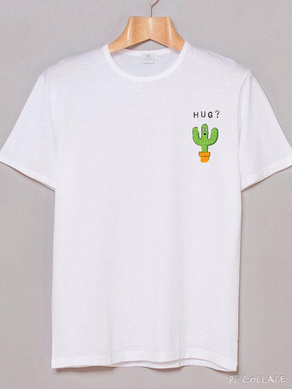 Cactus Hug White Shirt Tumblr Inspired by DashingCloset on Etsy