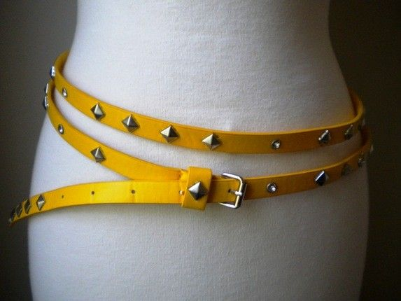 1980s Yellow Studded Double Belt Style Belt And 1980s