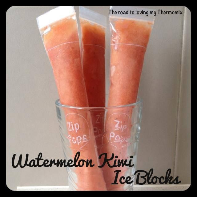 Goodness me it's hot here today! These are perfect.  500g watermelon chunks and 3 peeled kiwi fruit blitzed on speed 5 for 1 minute and frozen.  Made 8 tube