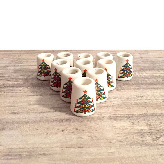 Vintage Christmas Candle Holders Small Miniature Candlestick Holders #CandleHolders #miniature #Small #ChristmasTrees #VintageChristmas #ChristmasDecor