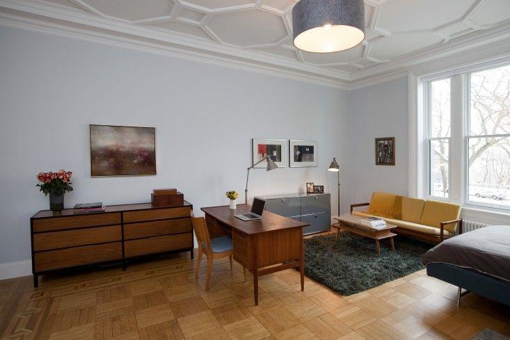 The hardwood floor border inlays in an apartment renovation