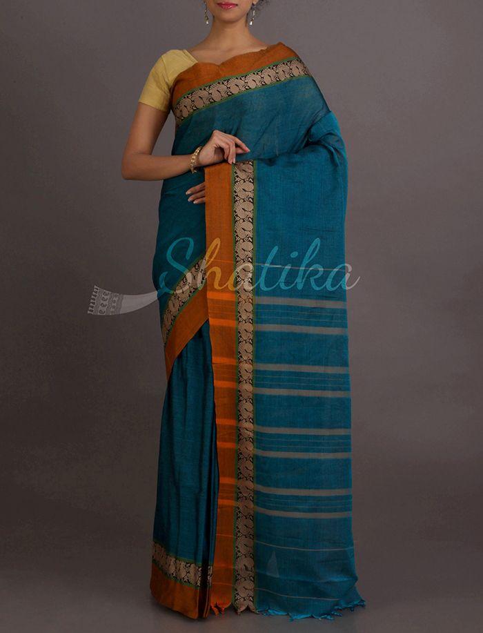 Sarita Peacock Hues Peacock Motifs Narayanpet Pure #CottonSaree