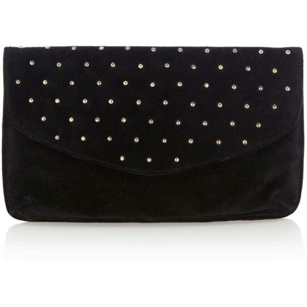 Suede Stud Clutch Bag ❤ liked on Polyvore