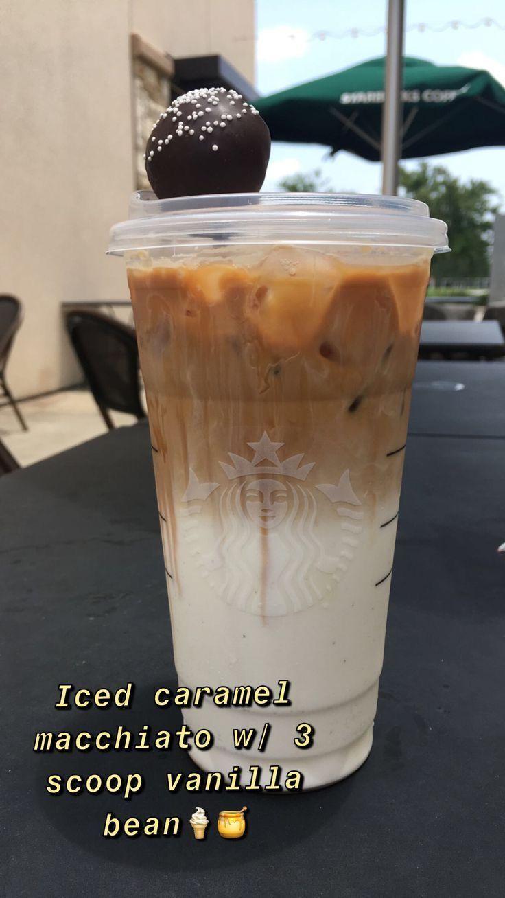 Iced Caramel Macchiato W 3 Scoop Vanilla Bean Coffee Recipes Starbucks Starbucks Drinks Recipes Starbucks Recipes
