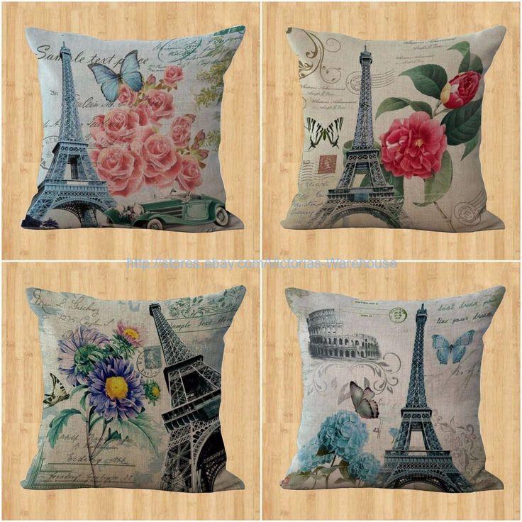 Wholesale 4Pcs Flower Paris Eiffel Tower Outdoor Cushion Cover Replacements