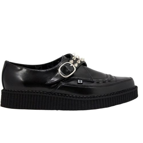 Studded Black Leather Pointed Creeper by T.U.K Footwear
