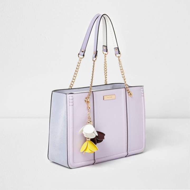 River Island Womens Lilac Purple flower charm chain tote bag