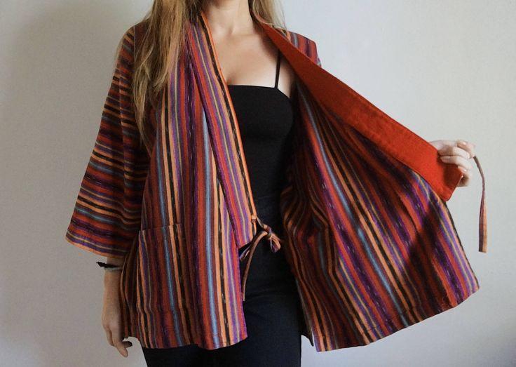Vintage Hand Loomed Bright Stripe Wrap Top http://etsy.me/2jIk3Xh #clothing #women #shirt #orange #red #purple #wrap #kimono #cotton