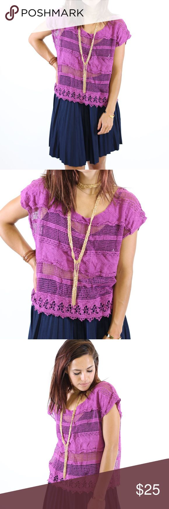 Anthropologie || Purple Crochet Slouchy Top Shop for a cause! All proceeds from the sale of this item are being donated to a non-profit organization that supports and rehabilitates women caught in sex trafficking. To learn more check out www.wipeeverytear.org.  Crochet lace top in Fuschia by Kirra for Anthropologie. Semi sheer, could be worn with bralette or a Cami. So cute. Good condition, true to size. Anthropologie Tops Blouses