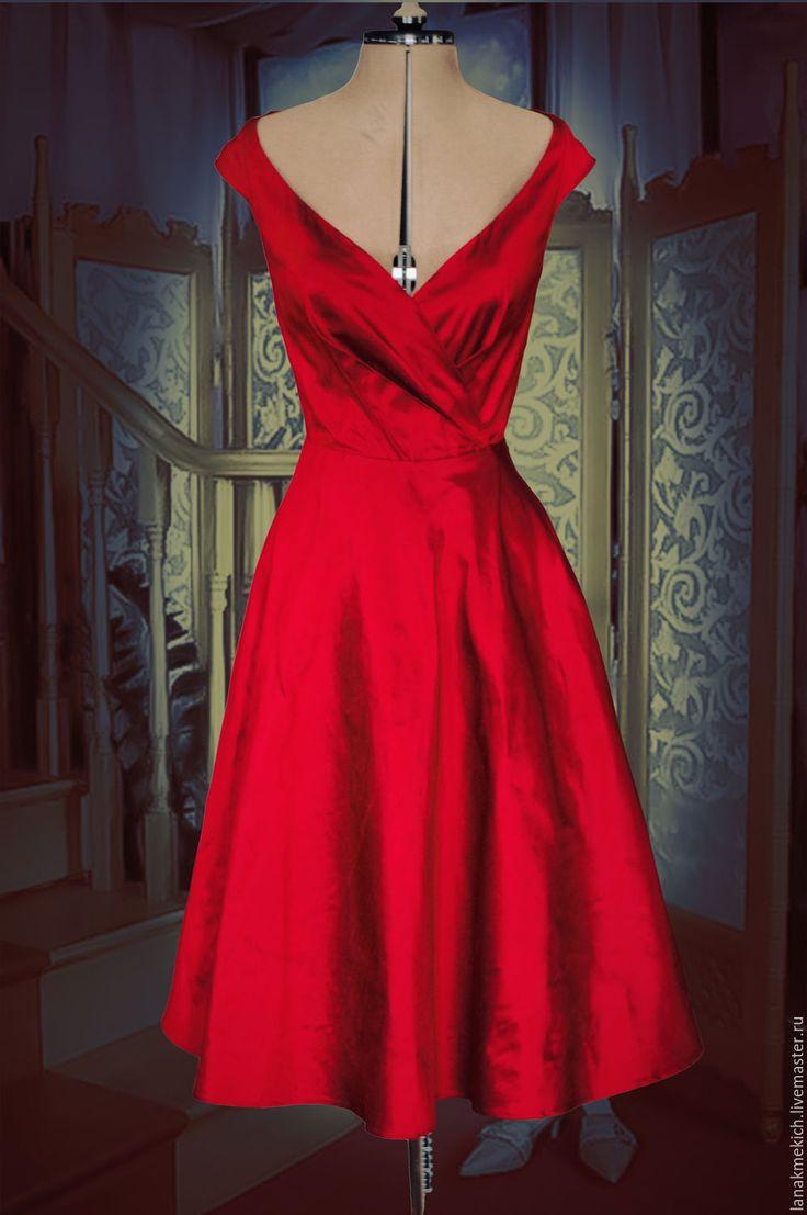 """Купить Красное платье-ретро из шелковой тафты """"Софи"""" - ярко-красный, однотонный, ретро, винтаж"""