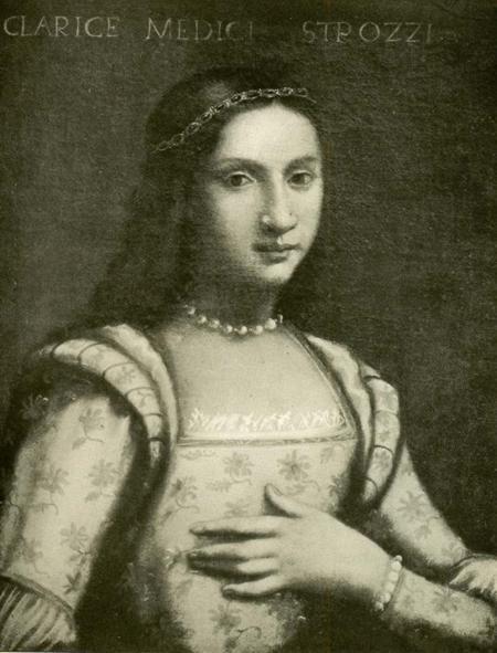 Clarice de' Medici (1493-1528), was the daughter of Piero di Lorenzo de' Medici aka Piero the Unfortunate, and Alfonsina Orsini. In 1508 she married Filippo Strozzi the Younger and they had ten children.