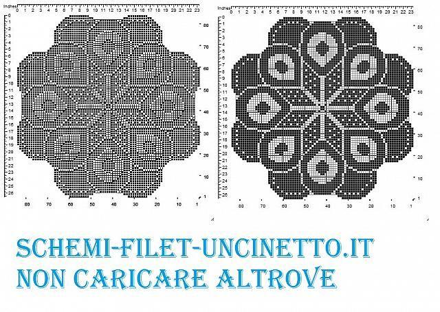 Centro Rotondo Stella Filet Uncinetto Schema Gratis Filet Crochet Crochet Crochet Patterns