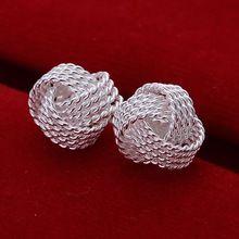 Free Shipping Wholesale summer style silver plated earrings for women Tennis net web stud earing cuff   Fashion jewelry //FREE Shipping Worldwide //
