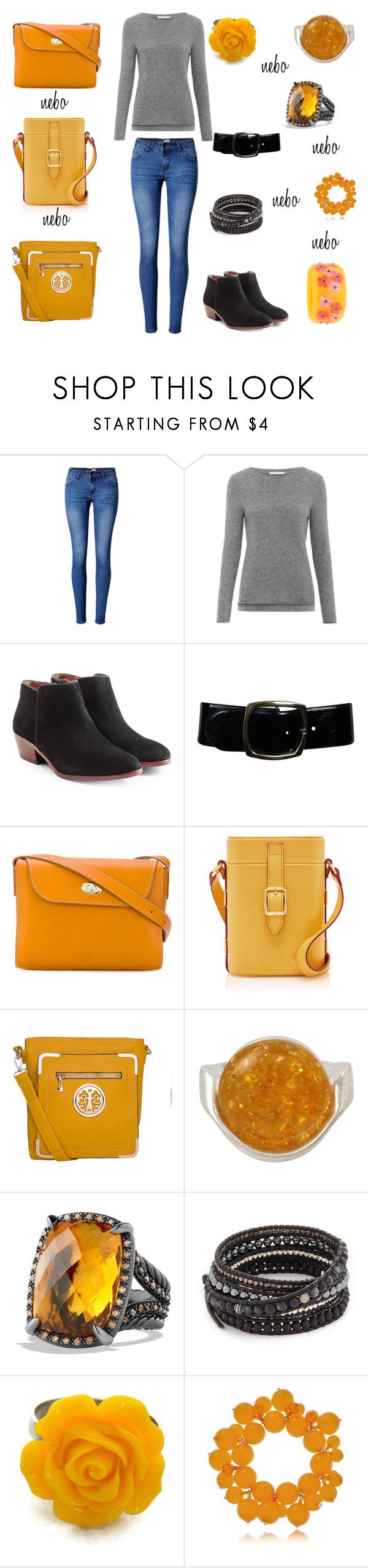 """style 7"" by jana-harp on Polyvore featuring WithChic, Les 100 Ciels, Sam Edelman, Chanel, Alexandre Mareuil, MKF Collection, Robert Lee Morris, David Yurman, Chan Luu and Kenneth Jay Lane"
