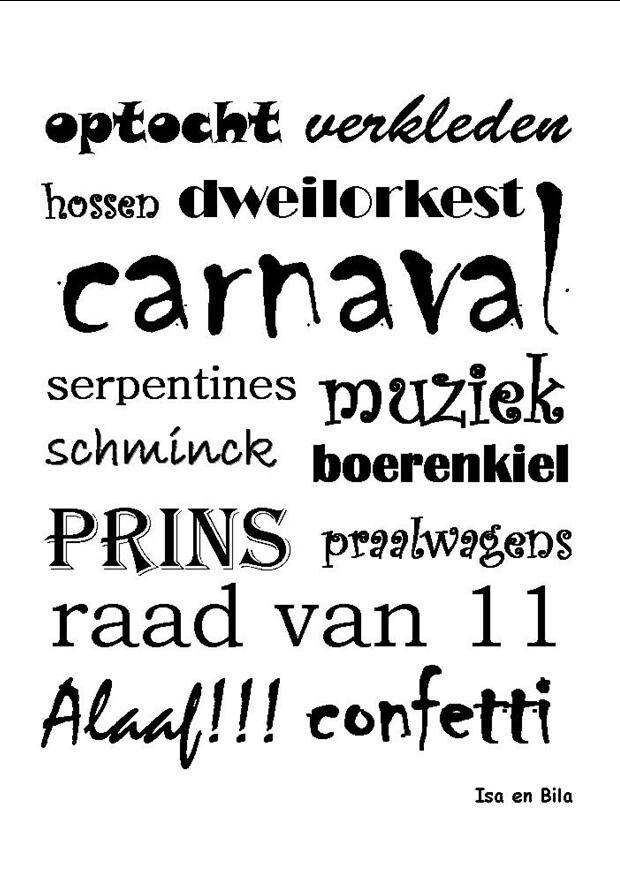 Briefkaart Carnaval Verkrijgbaar via www.isaenbila.nl