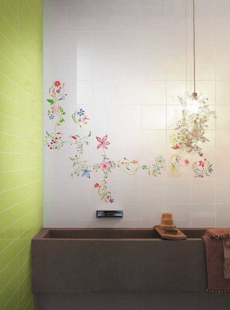 Primavera Colore hand painted ceramic tiles, Design Primavera Colore by Tord Boontje .
