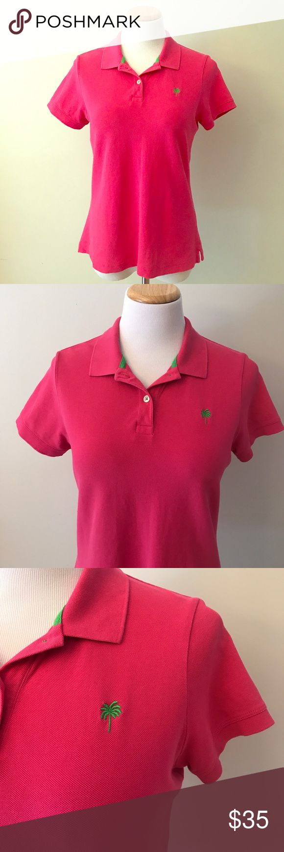 """Lilly Pulitzer Pink Polo Shirt Size L This Lilly Pulitzer pink polo shirt size L is in excellent pre-owned condition. No stains, rips or odors. Armpit to armpit laying flat is 19"""" and it is approx. 24"""" long. A classical Lilly Pulitzer piece! Lilly Pulitzer Tops Tees - Short Sleeve"""